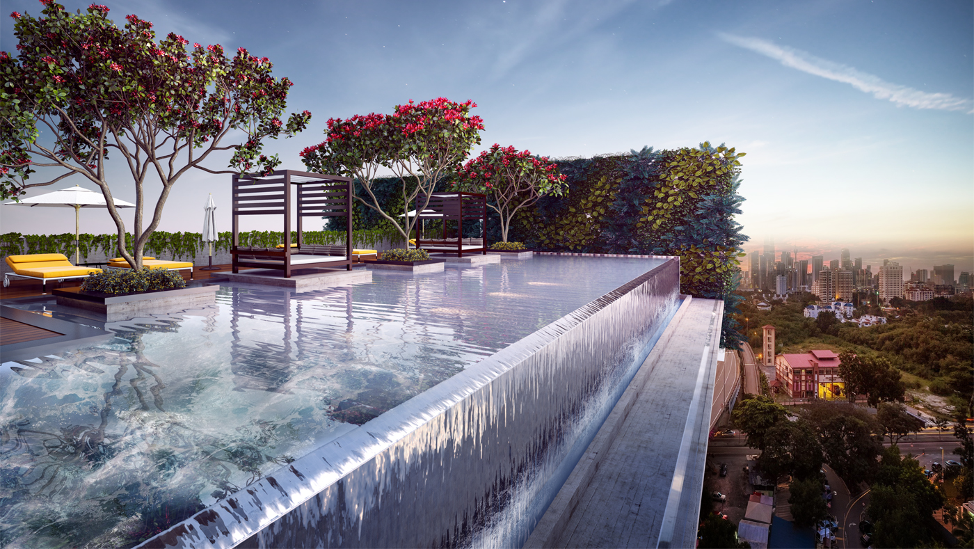 Hotel Infinite Pool Sketch